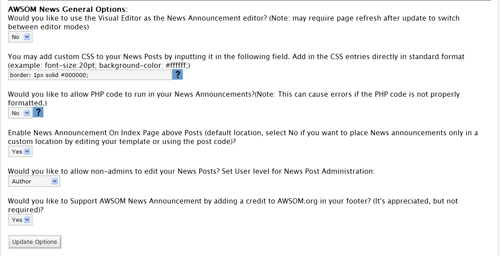 Awsom News manage page options