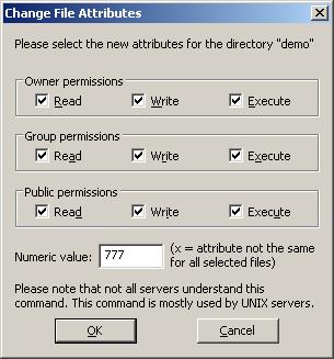 Filezilla permissions